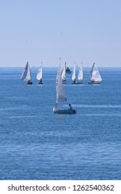 Small sailboats on the Italian Riviera near Rapallo