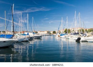 Small sailboats in a Porec harbor, Croatia