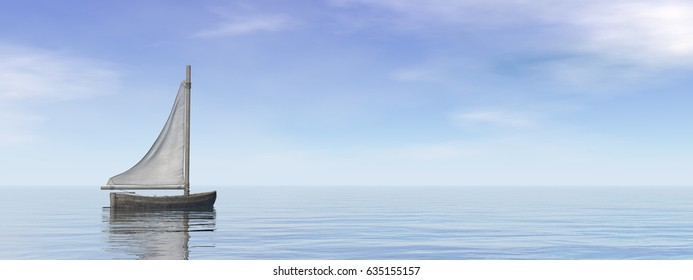 Small sailing boat on the ocean - 3D render