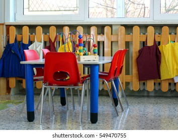 small school table with chairs and toys in a preschool for Children