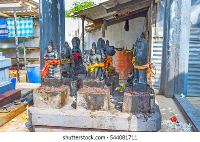 The small sculptures of Hindu Gods in shrine of Sri Kadhiresan Kovil Temple, Anuradhapura, Sri Lanka.