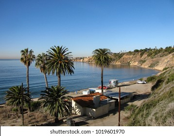 The small, secluded beach at Abalone Cove Shoreline Park on the Rancho Palos Verdes Peninsula of Los Angeles County, California includes a lifeguard station and tide pools.