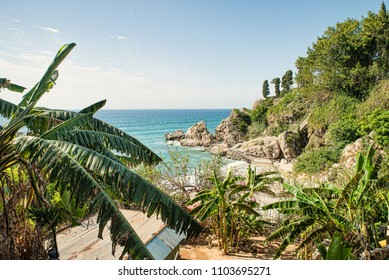 Small secluded beach as to be found in Nerja, Malaga, Spain