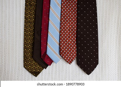 A small selection of colorful neckties menswear