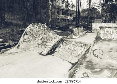 Small self-made concrete skateboarding park