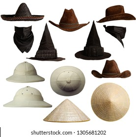 A small set of different hats in different positions. Mexican, cowboy, Vietnamese witch hat and cork helmet