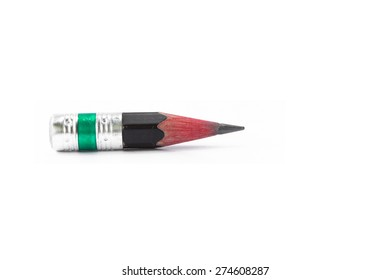 Small sharpened pencil isolated on white background