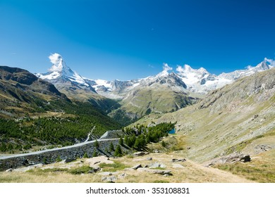 Small sheeps in the valley, Switzerland, Zermatt