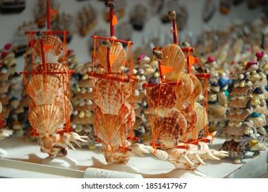 Small Ship Made of Sea Shells