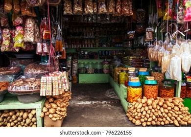 Small shop which sell food and drink in indonesian village. Jakarta, Indonesia - January 15, 2018