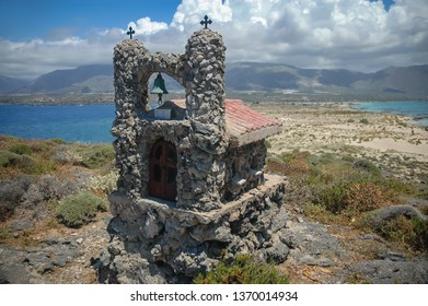 Small shrine on Elafonisi island located close to the southwestern corner of the Mediterranean island of Crete, Greece