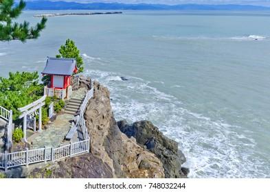 A small shrine on the point of Katsurahama beach, Kochi prefecture, Shikoku, Japan