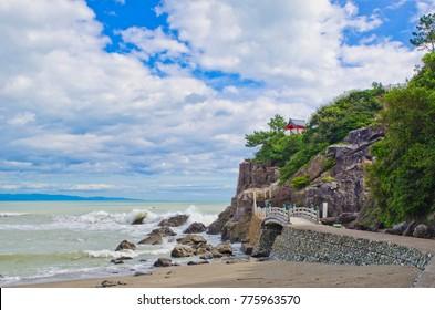 A small shrine on the point of Katsurahama beach, Kochi prefecture, Shikoku, Japan.