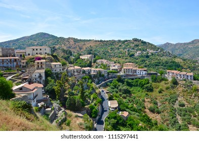 The small Sicilian village Savoca with its Bar Vitelli in centre known as  movie location of Godfather
