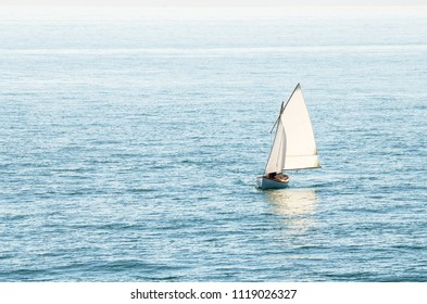 Small Siling Boat off the Coast of Vancouver Island on a Sunny Summer Day