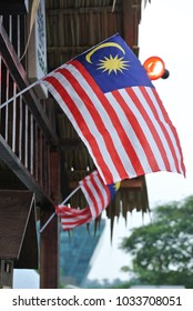 Small size Malaysia flags in windy air.