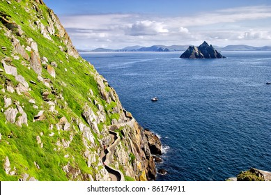 Small Skellig, worlds second largest colony of gannets seen from a vantage point on Skellig Micheal, Kerry, Ireland