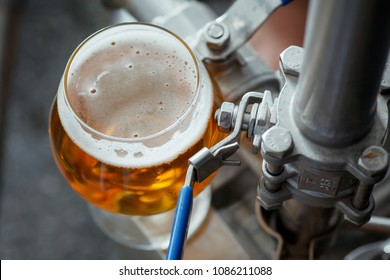 Small snifter glass of light beer standing on brewing equipment in a brewery