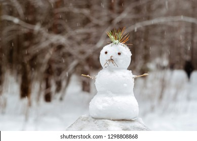 small snowman with a mohawk of pine needles stands under a snowfall against the background of a blurred park landscape