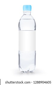 A small soda bottle with a blue cap and white label on white background with original shadow for product design. The capacity is about half liter (500 ml).