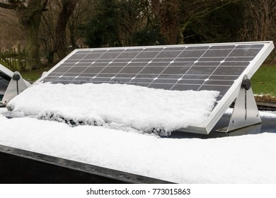 Small solar panels in winter partly covered with snow. Challenge of renewable energy solutions in the winter