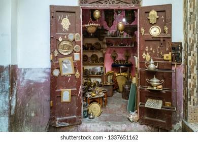 Small souvenir shop in the medina of Tangier, Morocco