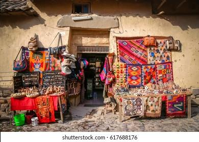 Small souvenir shop in a small town Ollantaytambo in Peru