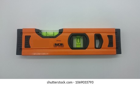 small spirit level in orange