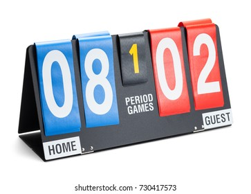 Small Sports Score Board Isolated on a White Background.