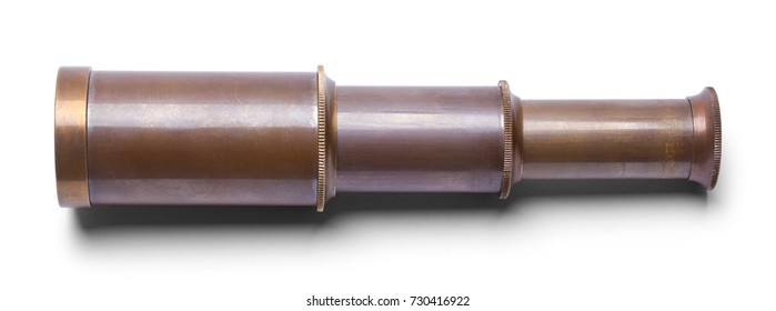 Small Spy Glass Telescope Isolated on White Background.