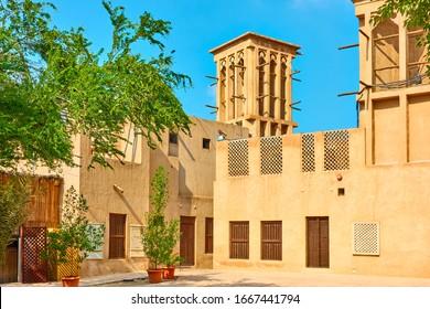 Small square in Al Fahidi Historical Neighbourhood in Dubai, United Arab Emirates (UAE)
