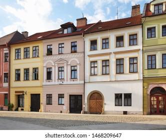 Small square (Male namesti) in Hradec Kralove. Czech Republic