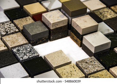 small square samples of granite and marble kitchen countertop