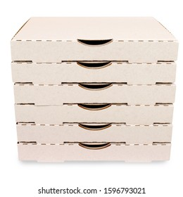 Small stack of blank pizza boxes isolated on a white background.