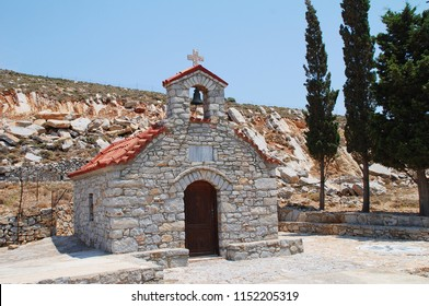 A small stone chapel by the road to Megalo Chorio on the Greek island of Tilos.