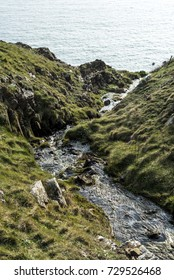 A small stream flowing towards the sea, Pembrokeshire , UK