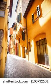 small street in Bologna, Italy