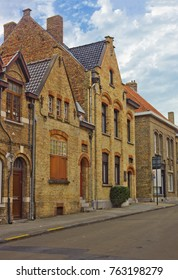 Small street in the center of the town, Nieuwpoort, Belgium