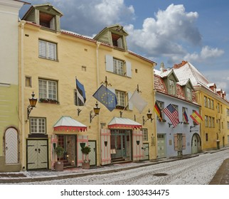 Small street with medieval buildings in old Tallinn, Estonia