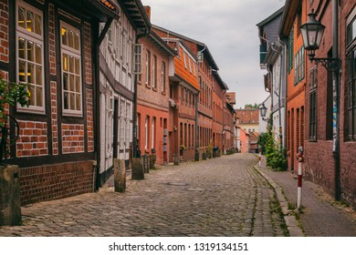 Small street with old houses in Luneburg, Germany