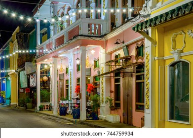 Small street in old town in Phuket town at evening, Thailand.