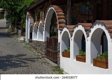 Small street in old town in Sozopol in Bulgaria