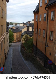 Small street in Stockholm, late afternoon