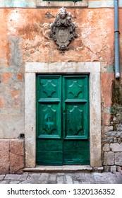 Small streets with door in Kotor city, Montenegro
