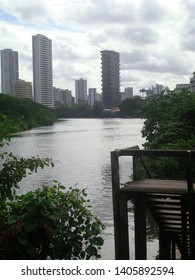 A small stretch of the river Capibaribe, which cuts through the city of Recife, Brazil.