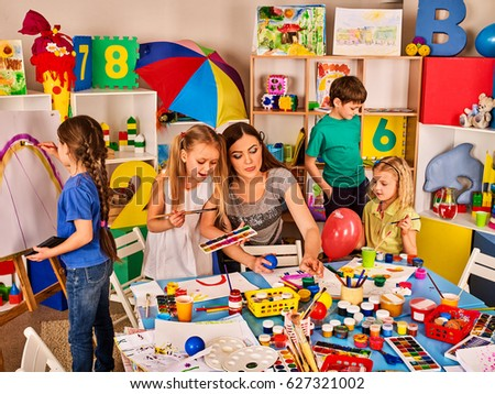 Small Students Teacher Painting Art School Stock Photo Edit Now