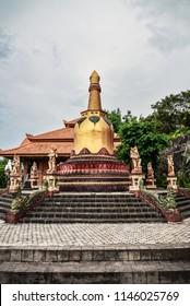 Small stupa in budhist temple Brahma Vihara-Arama Banjar in Lovina, Indonesia, Bali.