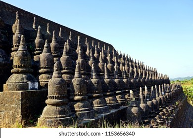 small Stupas at outer wall of Koe-Thaung Temple, Mrauk U, Rakhine State, Myanmar
