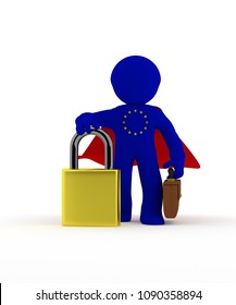 Small super hero businessman character with Padlock, GDPR concept, 3d rendering