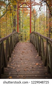 Small suspension bridge with fall colors